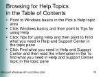 browsing for help topics in the table of contents