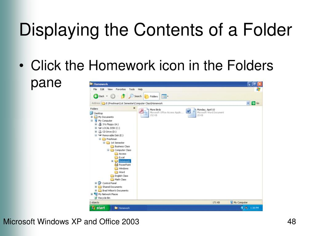 Displaying the Contents of a Folder