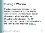 resizing a window