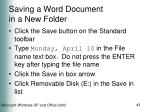 saving a word document in a new folder