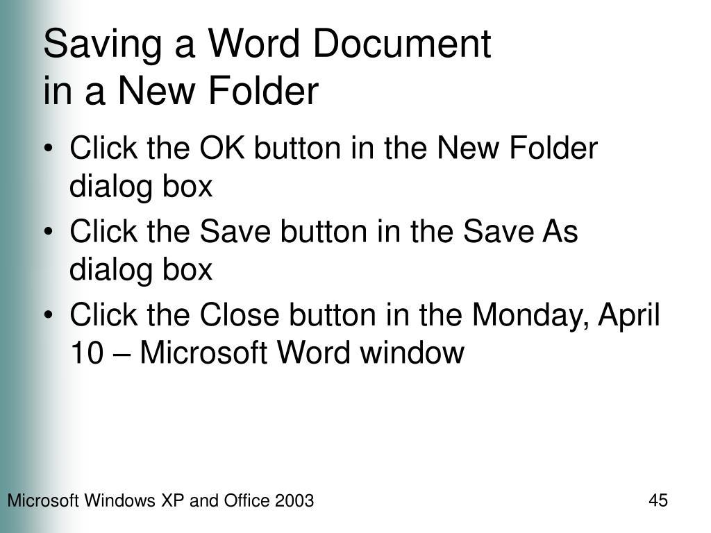 Saving a Word Document