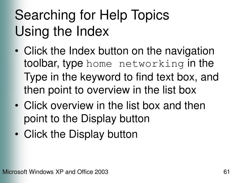 Searching for Help Topics