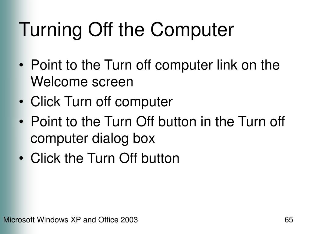 Turning Off the Computer