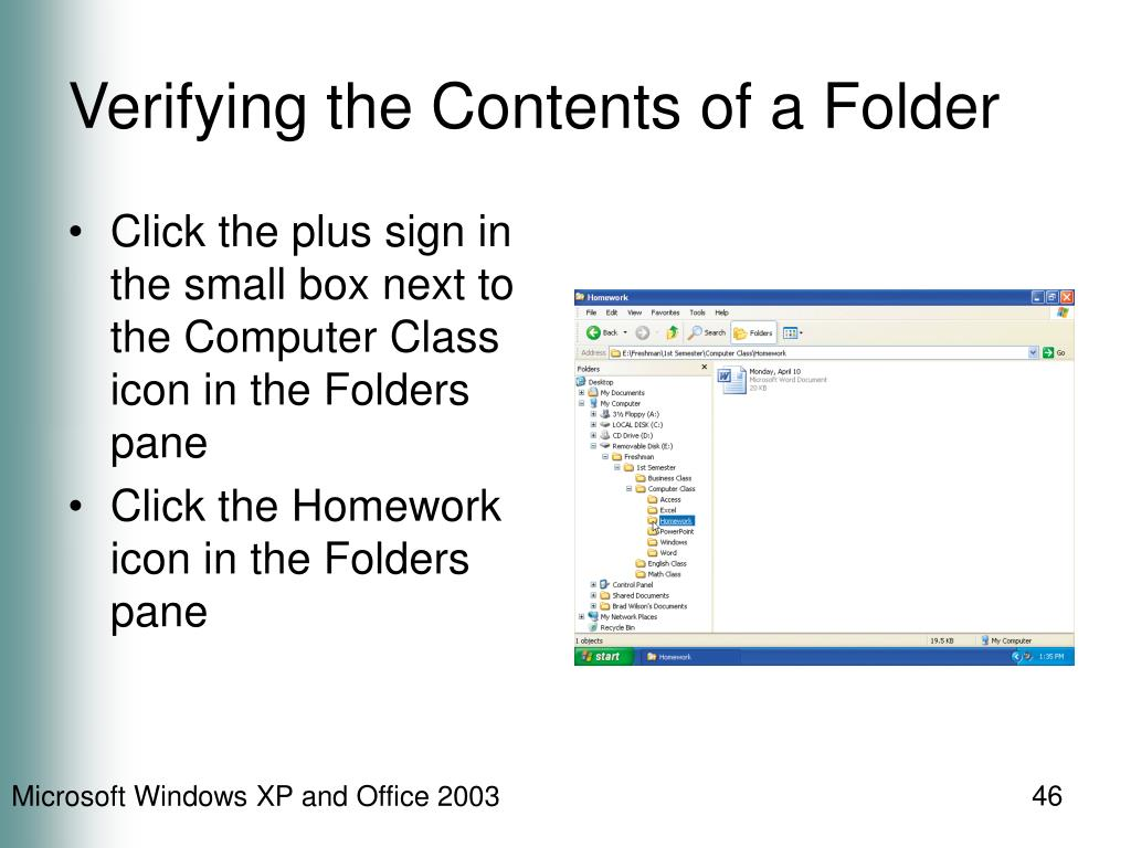 Verifying the Contents of a Folder