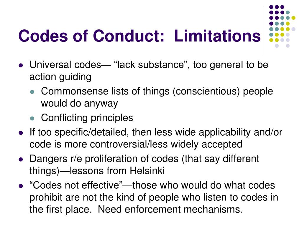Codes of Conduct:  Limitations