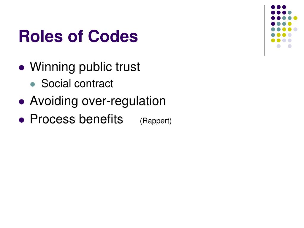 Roles of Codes