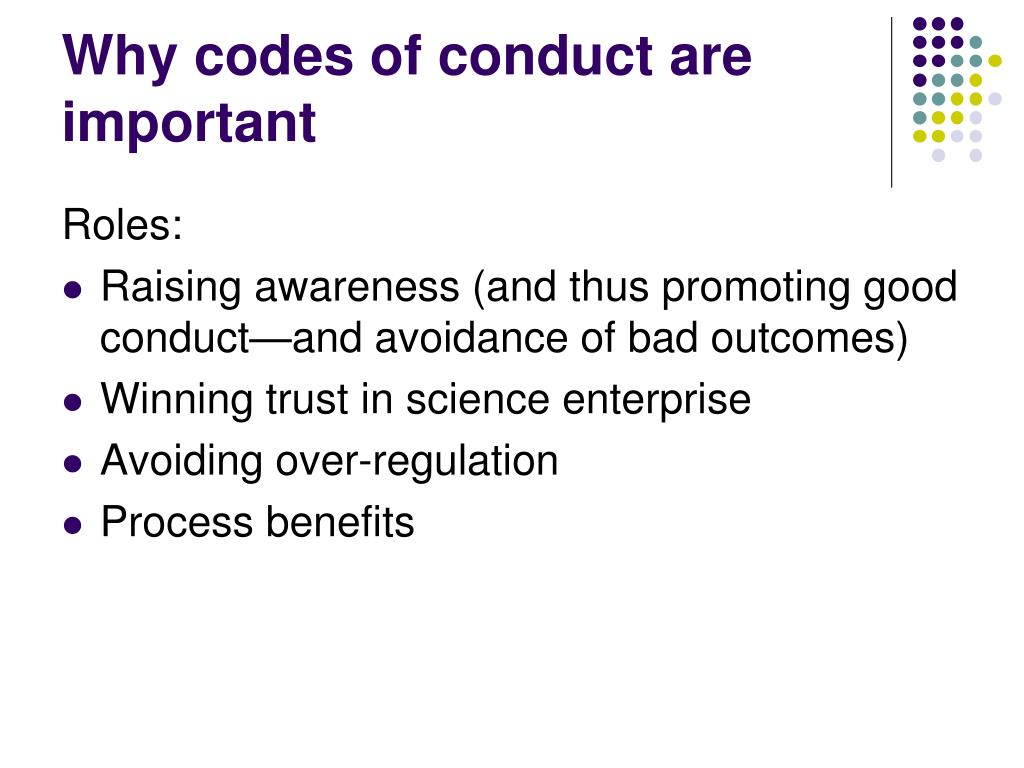 Why codes of conduct are important