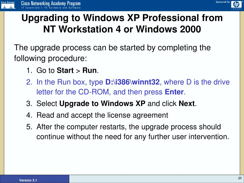 Upgrading to Windows XP Professional from