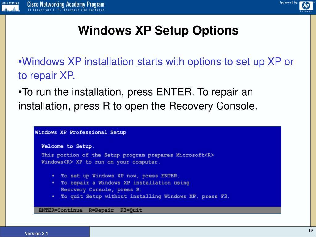 Windows XP Setup Options