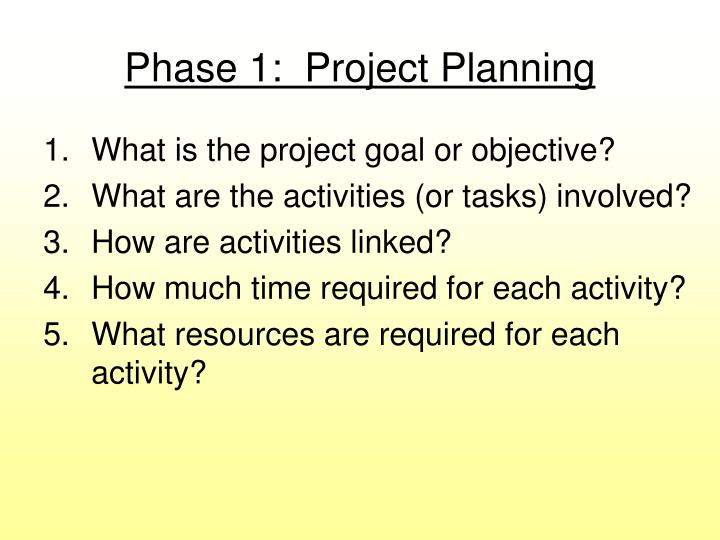 Phase 1 project planning