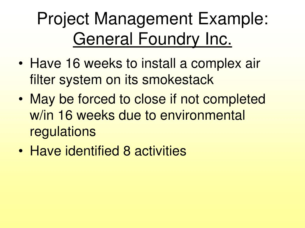 Project Management Example: