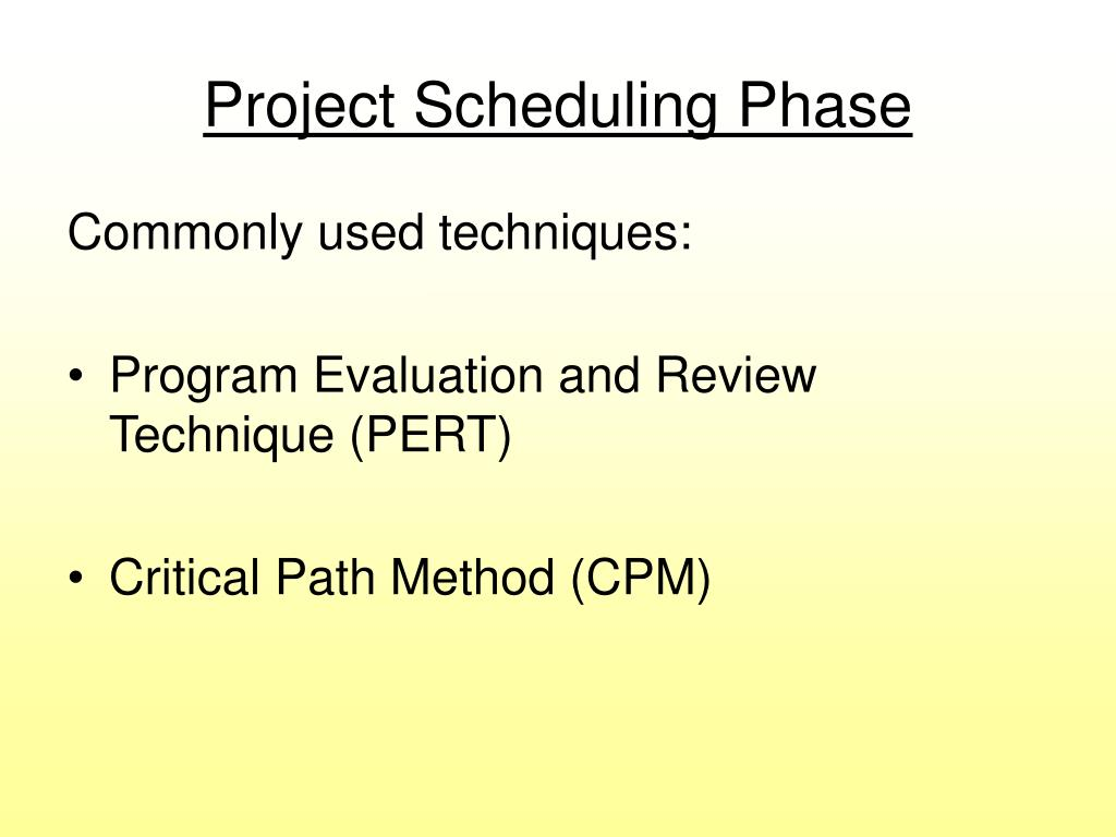 Project Scheduling Phase