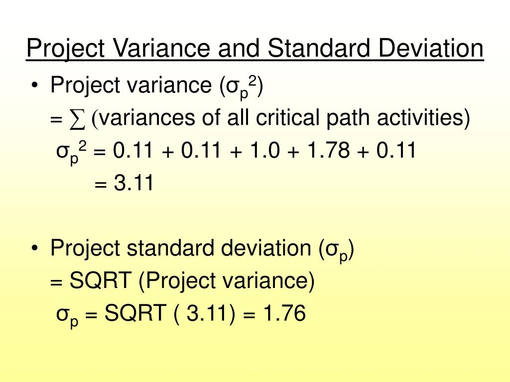 Project Variance and Standard Deviation