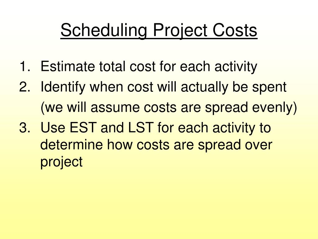 Scheduling Project Costs