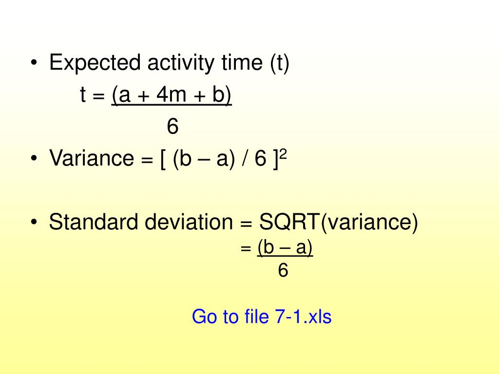 Expected activity time (t)