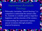 natural philosophy supernatural revealed theology