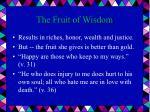 the fruit of wisdom