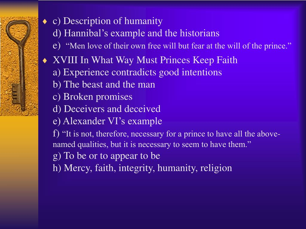 c) Description of humanity                                                   d) Hannibal's example and the historians                             e)