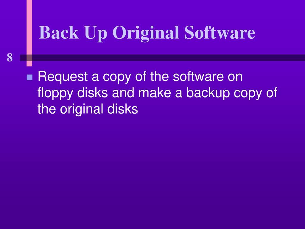 Back Up Original Software