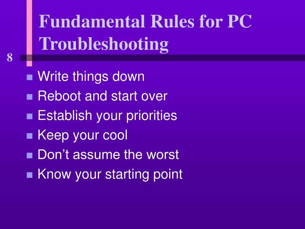 Fundamental Rules for PC Troubleshooting