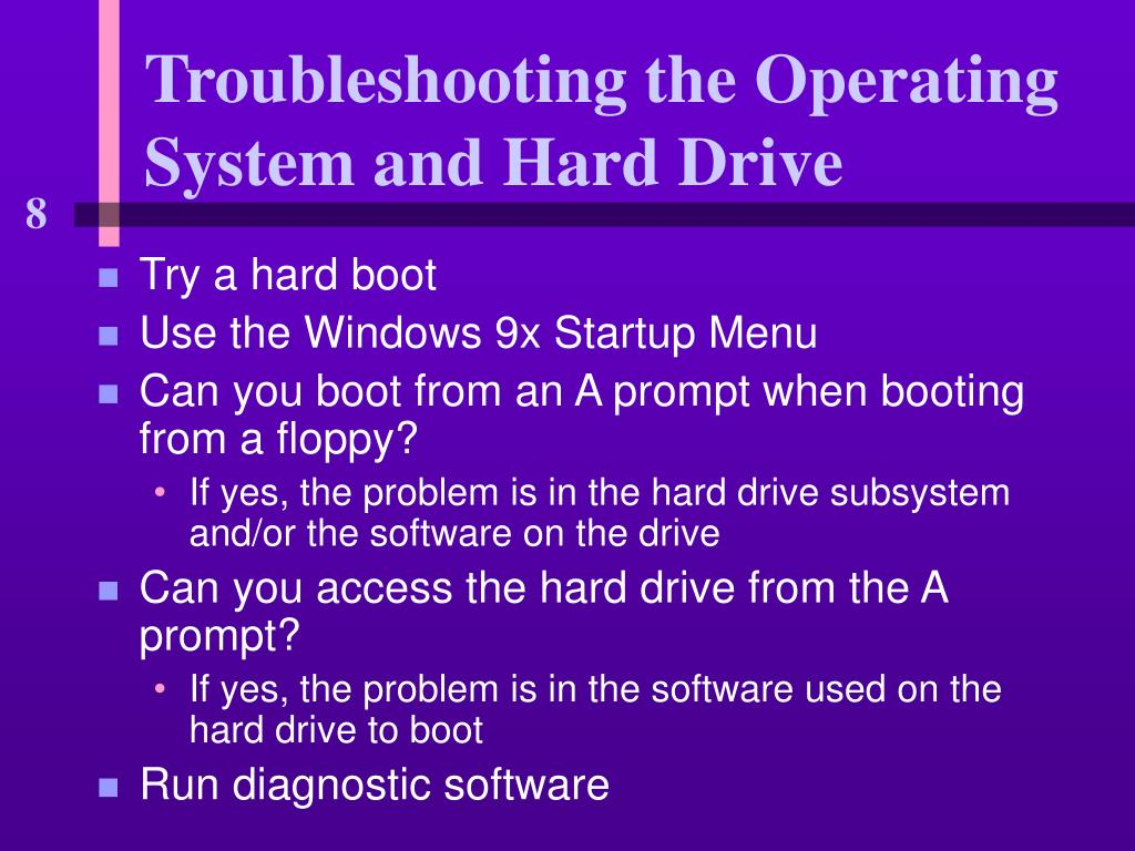Troubleshooting the Operating System and Hard Drive