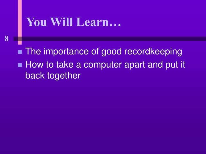 You will learn3