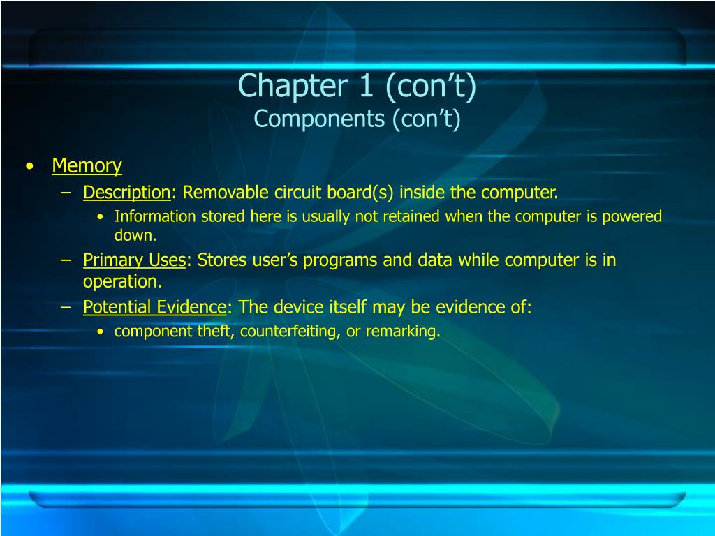 Chapter 1 (con't)