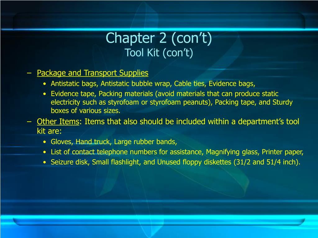 Chapter 2 (con't)