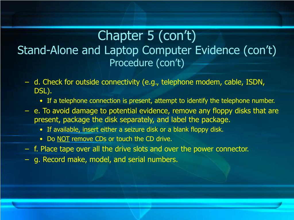 Chapter 5 (con't)