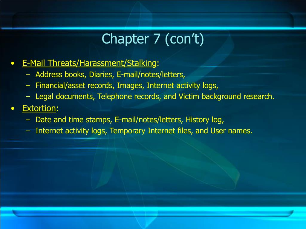 Chapter 7 (con't)