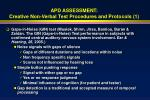 apd assessment creative non verbal test procedures and protocols 1