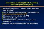 assessment and management of auditory processing disorders apd26