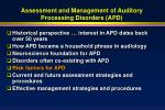 assessment and management of auditory processing disorders apd41