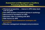 assessment and management of auditory processing disorders apd49