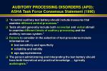 auditory processing disorders apd asha task force consensus statement 1996