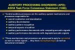auditory processing disorders apd asha task force consensus statement 199619