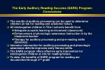 the early auditory reading success ears program conclusions