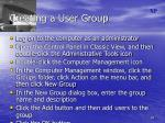creating a user group