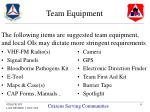 team equipment