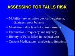 assessing for falls risk