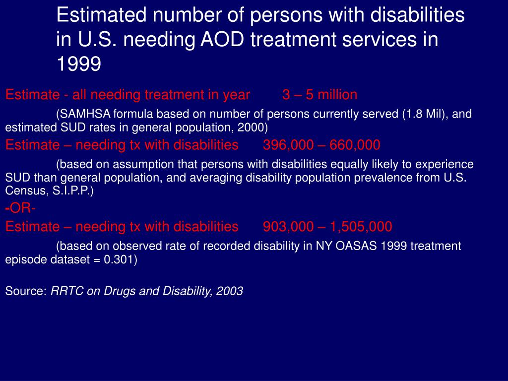 Estimated number of persons with disabilities in U.S. needing AOD treatment services in 1999