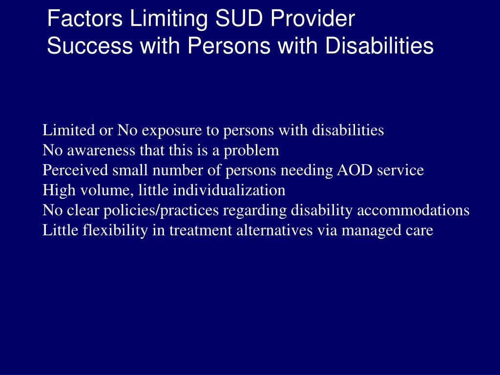 Factors Limiting SUD Provider
