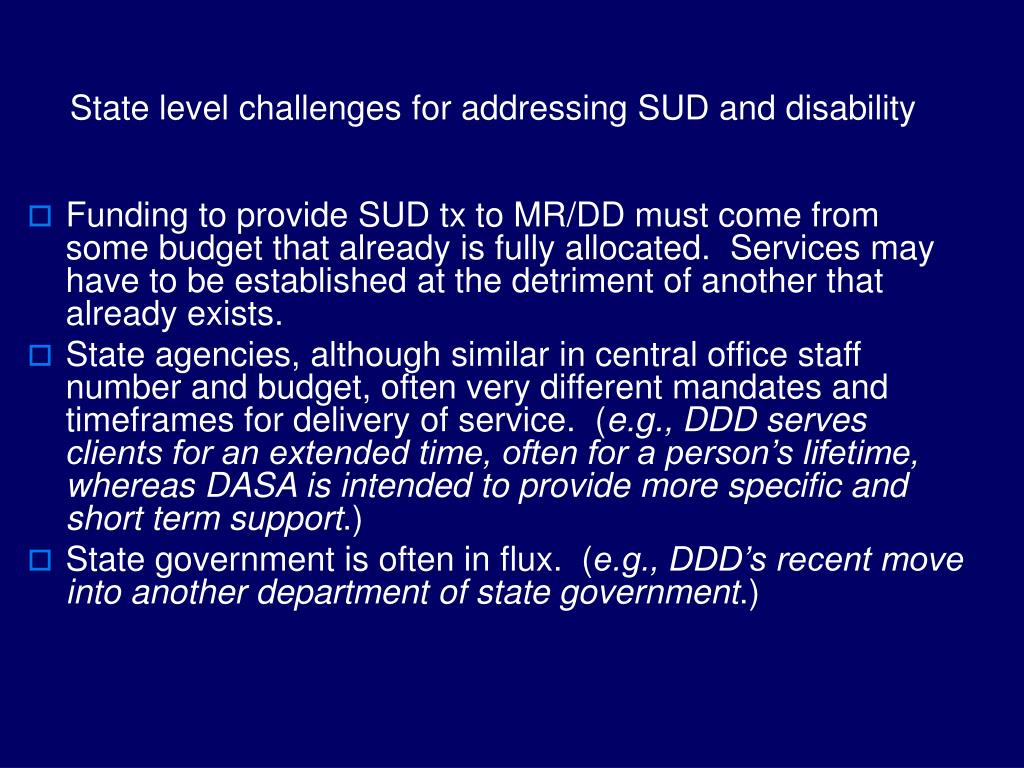 State level challenges for addressing SUD and disability