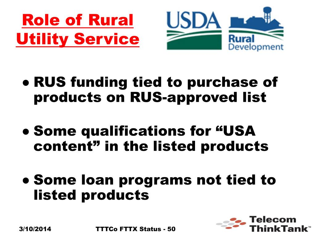 Role of Rural Utility Service