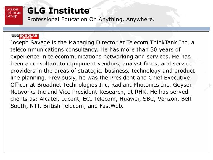 Joseph Savage is the Managing Director at Telecom ThinkTank Inc, a telecommunications consultancy. H...
