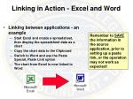 linking in action excel and word
