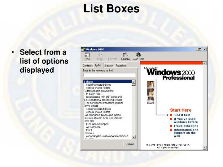 List Boxes