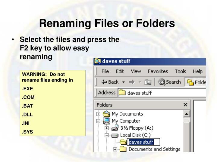 Renaming Files or Folders