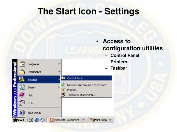 The Start Icon - Settings