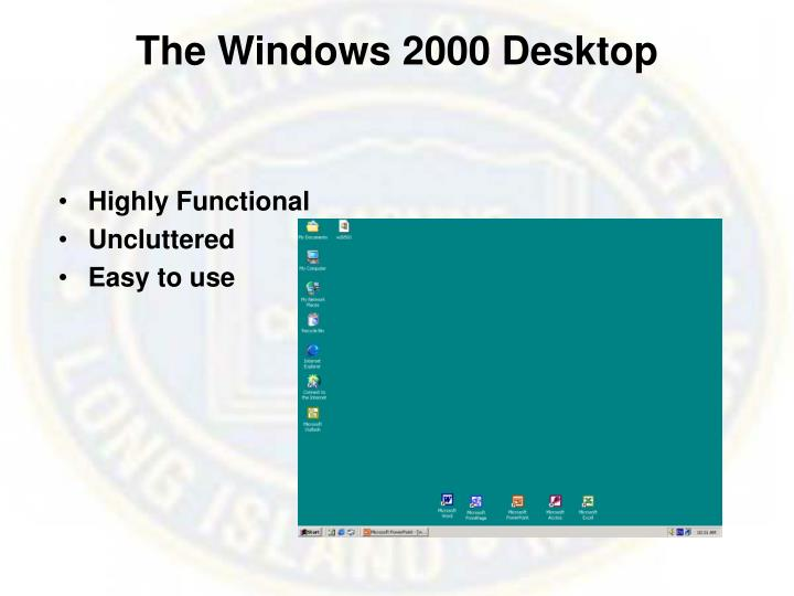 The windows 2000 desktop
